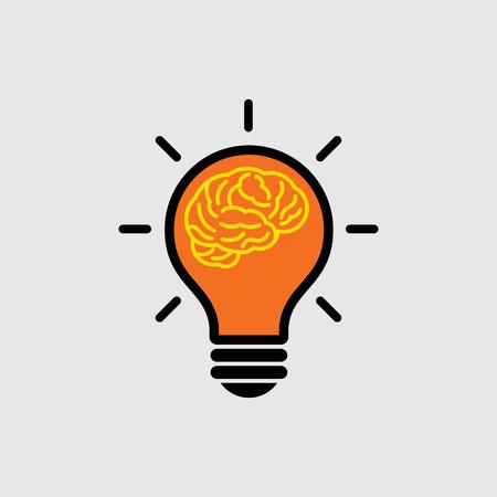 cerebro: cerebro con luz bulbo concepto