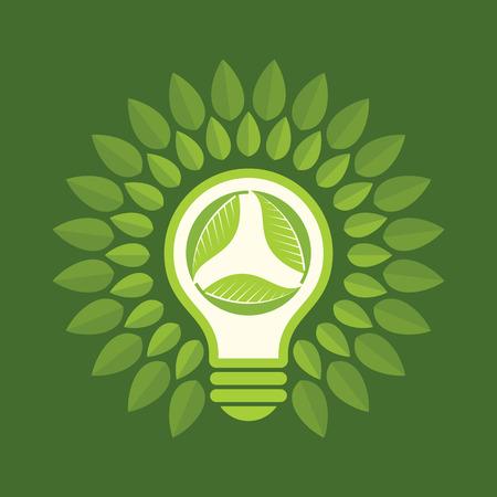 green light bulb: Green Light Bulb concept Illustration