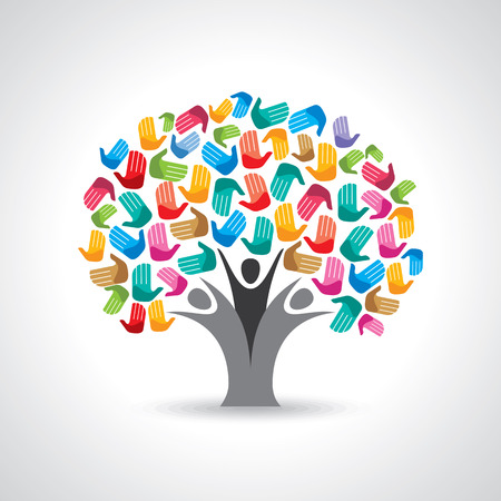 mundo manos: Árbol aislado manos la diversidad ilustración.