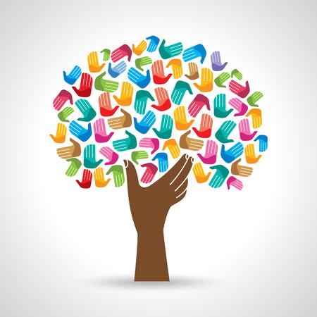 Isolierte Vielfalt Baum Hände Illustration. Illustration