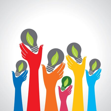 Hands holding green ecology light bulbs Illustration