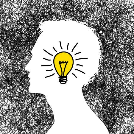 idee concept met menselijk hoofd Stock Illustratie