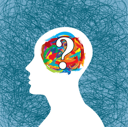 Man thinking many question. brain idea