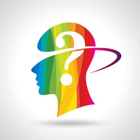 Man thinking many question. brain idea