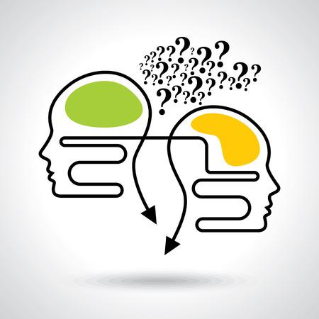 conocimiento: Los pensamientos y las opciones de ilustración de la cabeza con las flechas