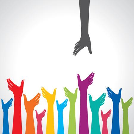 diversidad: Equipo de símbolo. Manos multicolores