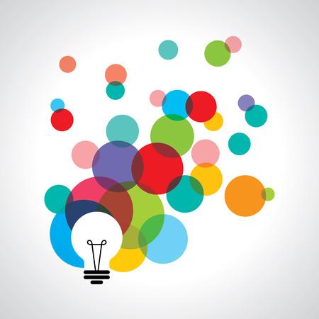 pensamiento creativo: iconos bombilla con el concepto de idea.