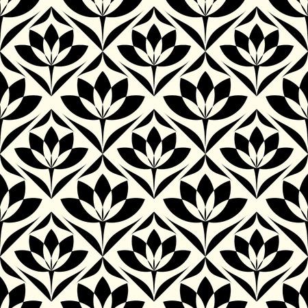 flor de loto: Elegante papel tapiz floral con estilo abstracto. Patr�n sin fisuras