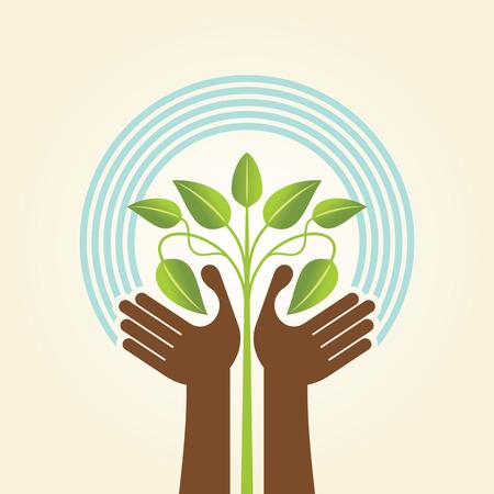 緑の葉 - エコ概念で人間の手・ ツリーのアイコン  イラスト・ベクター素材