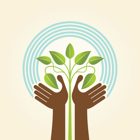 sustentabilidad: mano humana y icono del árbol con hojas verdes - concepto de eco Vectores