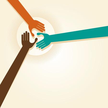 Handdruk, Teamwork Hands Logo. Vector illustratie.