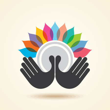 education help: human hand & tree icon with colourful leaves - eco concept vector. Illustration