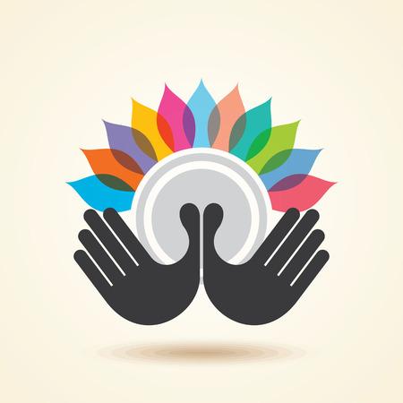 logo recyclage: main humaine et arbre ic�ne avec feuilles color�es - notion vecteur �co.