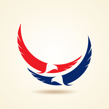 usa patriotic: Graceful soaring eagle logo with outstretched wings in two color variations