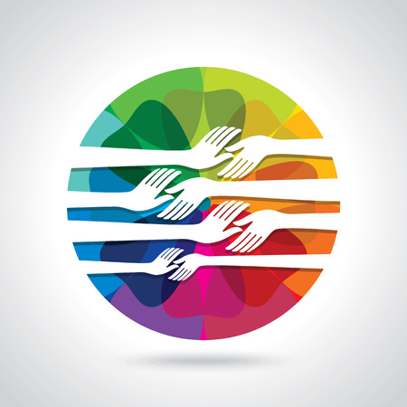 participate: group of hands with colourful background