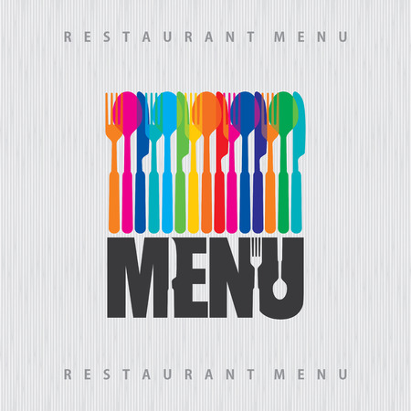 illustration of template for menu or wine card with cutlery Illustration