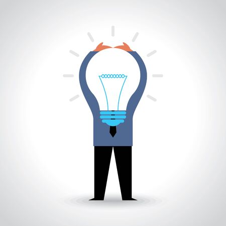 showing: Businessman showing light bulb