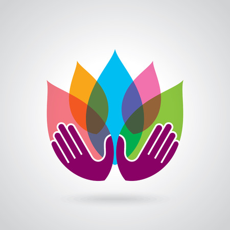 Hands holding a Lotus flower vector icon Çizim