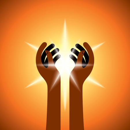 hope symbol of light: Silhouette of spiritual hands