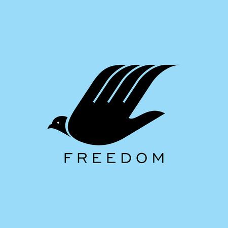 paloma de la paz: volar de las aves a mano. idea libertad creativa Vectores