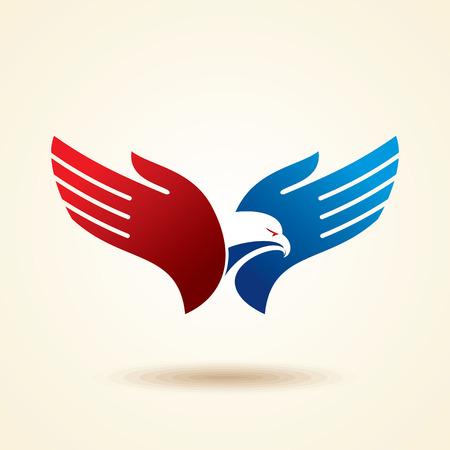 手に鳥の飛ぶ。創造的なアイデア
