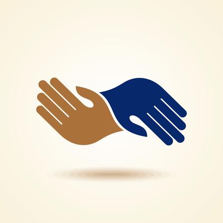 manos logo: Trabajo en equipo Manos Logo. Ilustraci�n del vector. Vectores