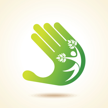 symbolic: people tree icon with green leaves - eco concept vector.