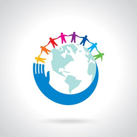 happy planet earth: Globo de la tierra con el concepto de trabajo en equipo de personas Vectores