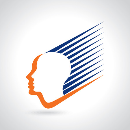 unsolvable: think Thoughts and options. vector illustration of head