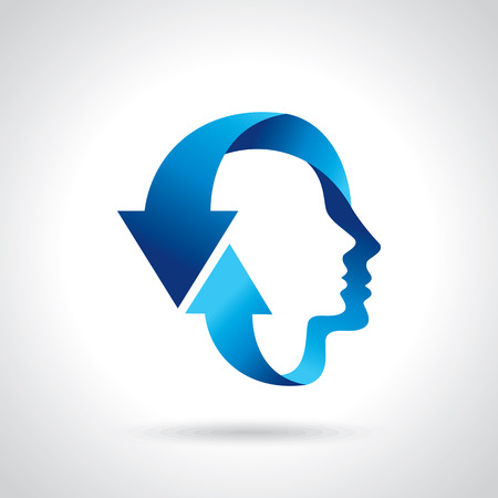 thinking head with blue arrow Ilustracja