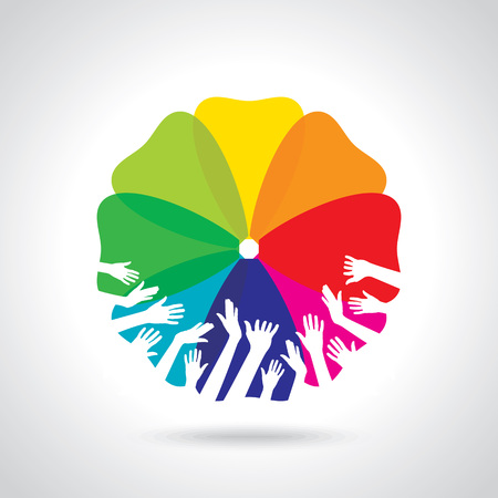 participation: group of hands with colourful background