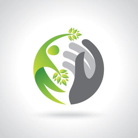 Las manos humanas que protegen las hojas verdes, ahorran concepto de la tierra. Ilustración de vector
