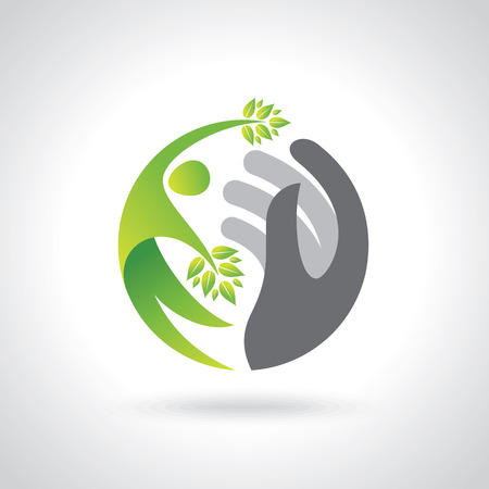Human hands protecting green leaves, save earth concept.