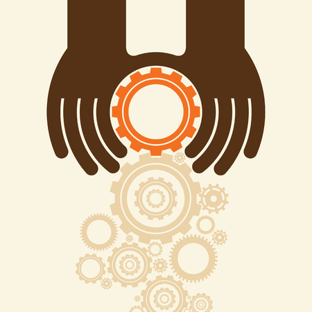 interdependent: People hands hold gears. Business start up concept.
