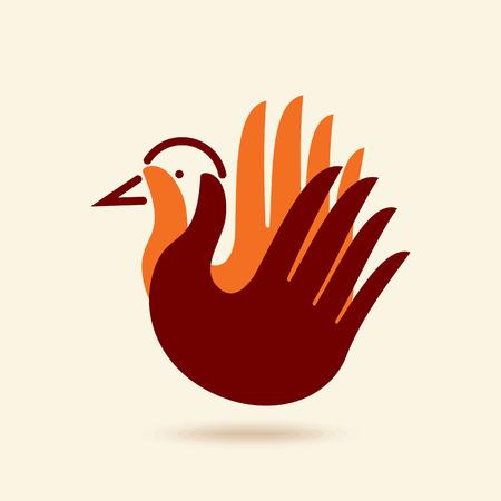 multinational: bird to hand. creative idea