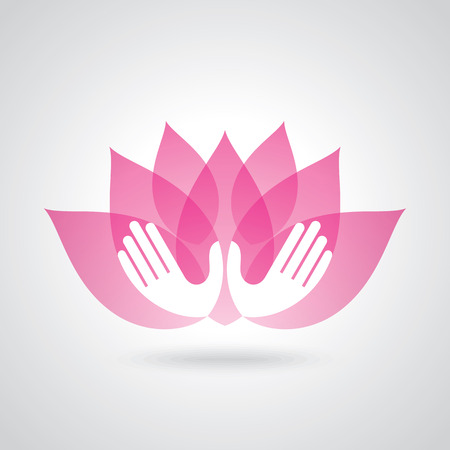 Hands holding a Lotus flower vector icon Illustration