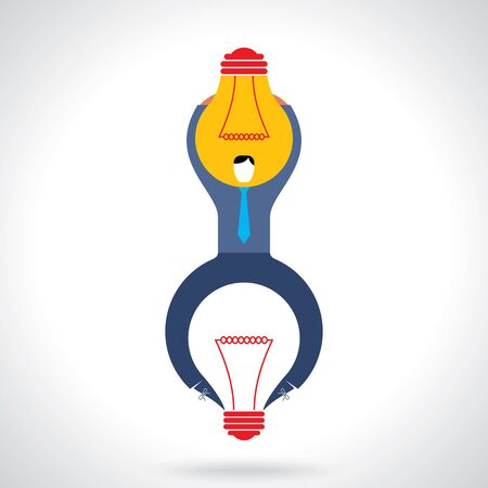 bring up: design concept creative visual on great idea and brainstorming in business with businessman holding idea Illustration