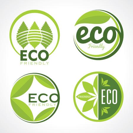 Set van ecologie iconen met groene bladeren in vector