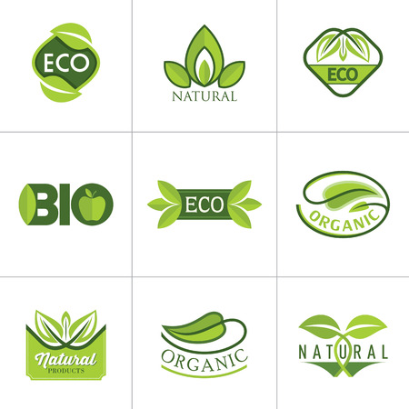 organic plants: Set of ecology icons with green leaves in vector Illustration