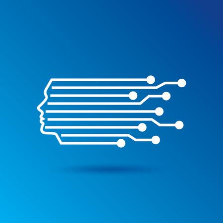 digital art: Digital Head Line art vector symbol design template.
