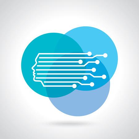 software icon: Digital Head Line art vector symbol design template.