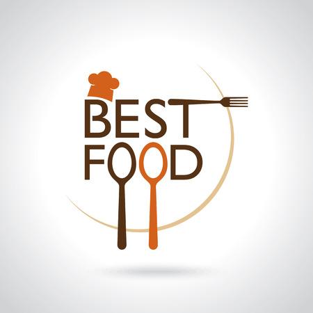 logo de comida: La mejor comida de vectores iconos, muestra, símbolo tarjeta