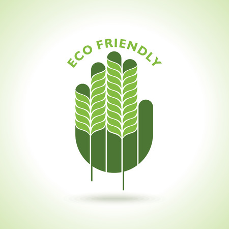 green hand: Green hand with green leaf over white background