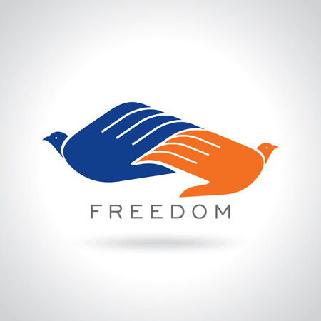 creative freedom: fly of bird to hand. creative freedom idea