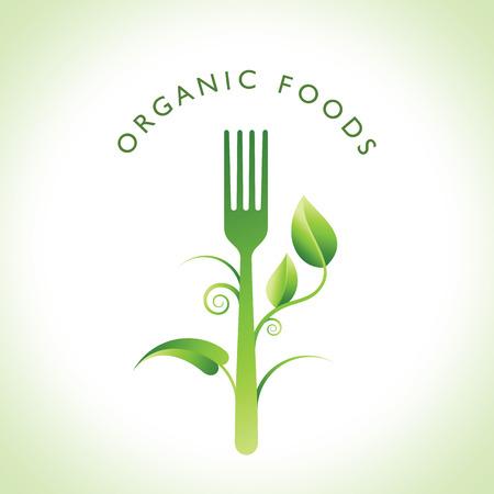 logo de comida: Concepto de la comida orgánica Vectores