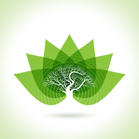 flower shape: Green leaves abstract Vector illustration. Eco friendly Illustration