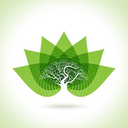 silhouette fleur: Green leaves abstraite Vector illustration. Eco friendly Illustration
