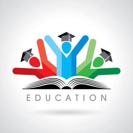 manos logo: estudiantes felices con el icono del lápiz. símbolo educativa Vectores
