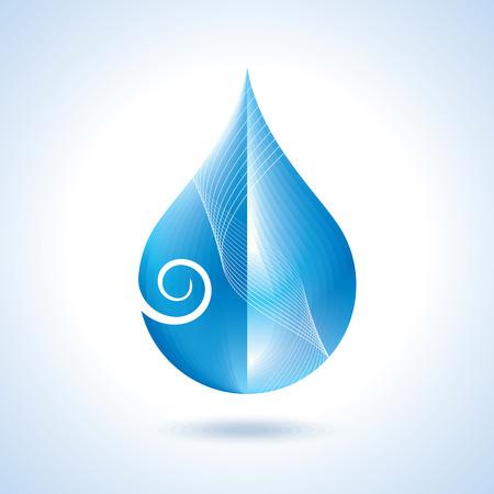 Blue shiny water drop. Vector illustration Vector