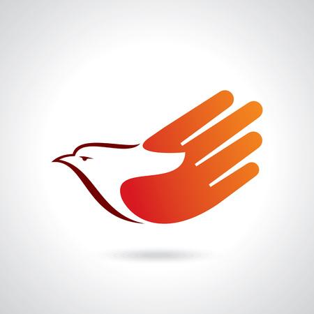 Fly of bird to hand. creative idea Illustration